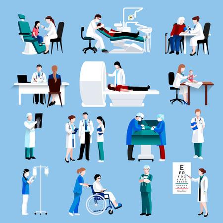 medical instruments: Bác sĩ và y tá y tế bệnh nhân điều trị và kiểm tra chữ tượng hình phẳng với các biểu tượng y tế trừu tượng cô lập vector minh họa
