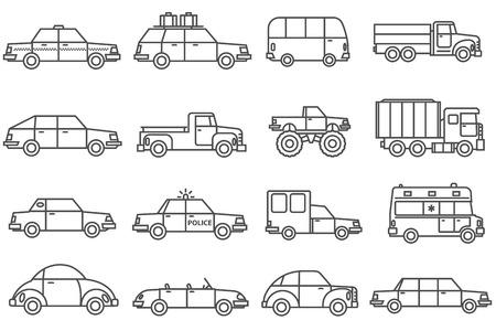 alumnos en clase: Coches alinean iconos blancos negros establecidos con la familia y de servicios vagones planos aislados ilustración vectorial