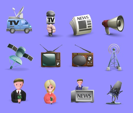 live: Media icons set of news presenters news maker tools tv and radio devices cartoon isolated vector illustration