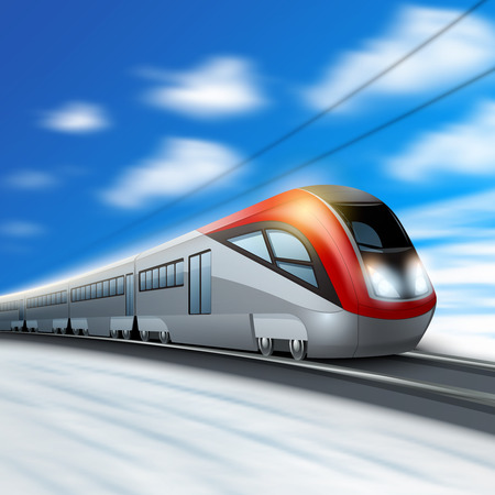 Modern high speed train in motion with blur sky on background vector illustration Ilustração