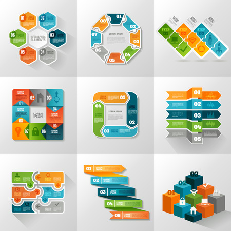 a table: Infographic templates icons set with different diagrams and charts flat isolated vector illustration