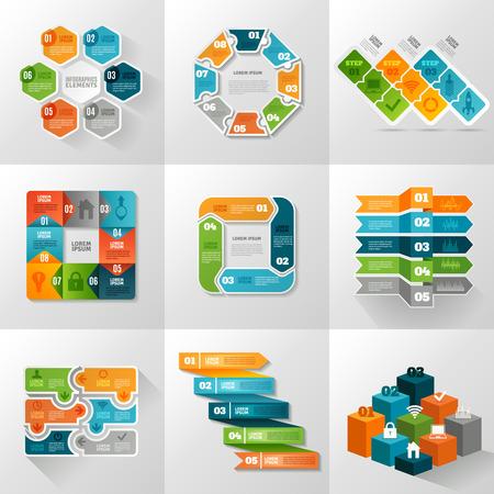 Infographic templates pictogrammen instellen met verschillende diagrammen en grafieken vlakke geïsoleerde vector illustratie Stock Illustratie