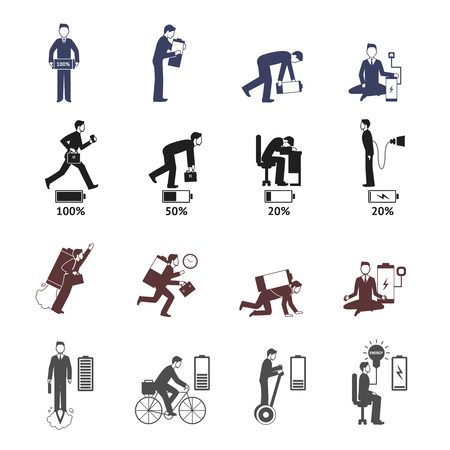pictogram people: Businessman energy black and white with battery metaphor isolated vector illustration