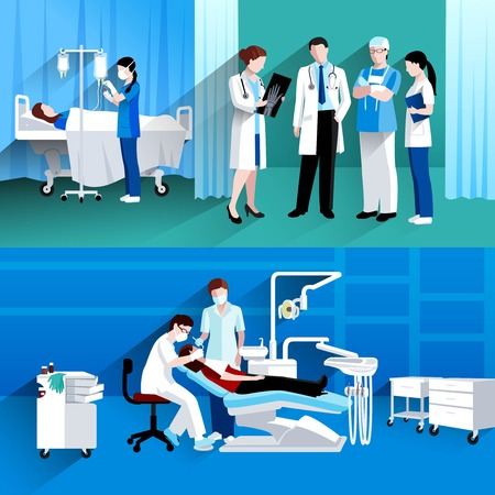 instrument practice: Medical specialists concilium and dental surgery private practice 2 flat horizontal banners composition abstract isolated vector illustration