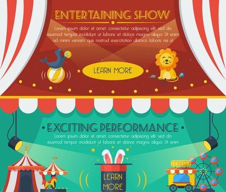 clown cirque: Cirque bannière horizontale définie avec spectacle divertissant éléments plats isolé illustration vectorielle Illustration