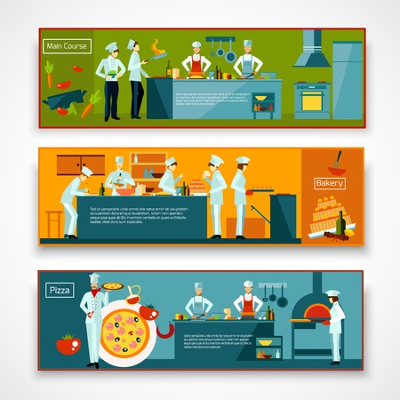 bake: Cooking horizontal banner set with people making pizza and baking isolated vector illustration