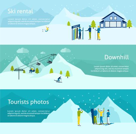 ski resort: Ski resort horizontal banner set with people with sport equipment isolated vector illustration