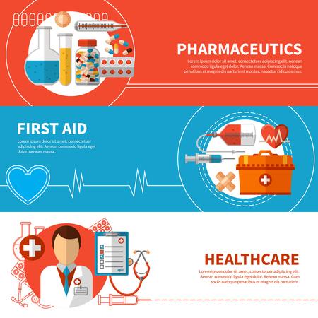 primeros auxilios: Banderas médicos horizontales con herramientas de medicamentos de primeros auxilios y asistencia sanitaria ilustración vectorial