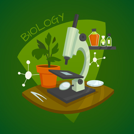 reagents: Biology laboratory workspace design concept with microscope houseplant and chemical reagents vector illustration