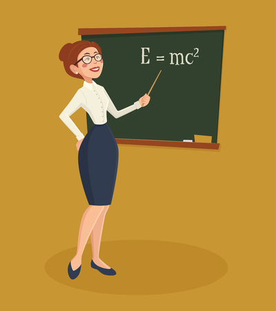 teacher and students: Teacher formally dressed woman with blackboard chalk and pointer cartoon vector illustration Illustration