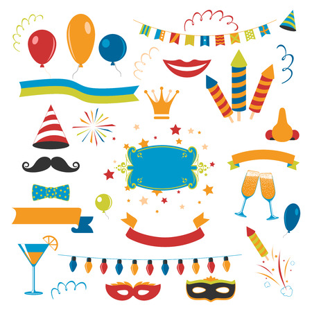 flat nose: Holiday celebration set with fireworks champagne and decorations flat isolated vector illustration Illustration