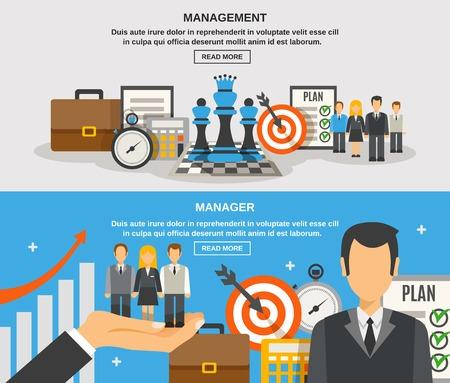 gestion empresarial: Gesti�n de banner horizontal conjunto con elementos planos gestor de ilustraci�n vectorial aislado