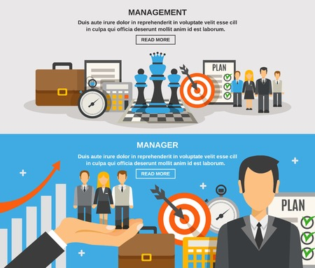 Management horizontal banner set with manager flat elements isolated vector illustration