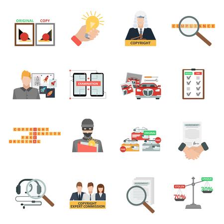 Penal de cumplimiento la ley de derechos de autor y la piratería de la propiedad intelectual de robo de sanciones iconos planos aislados colección abstracta ilustración vectorial