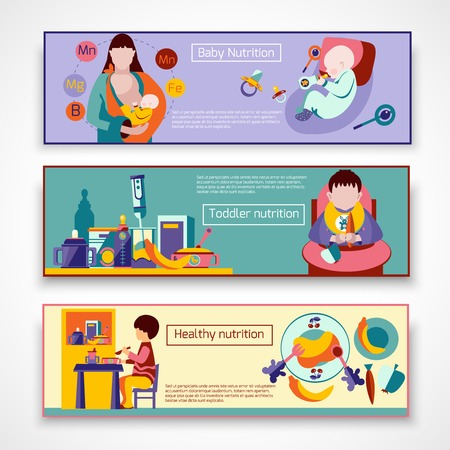 feeding bottle: Baby nutrition horizontal banner set with toddler feeding elements isolated vector illustration Illustration