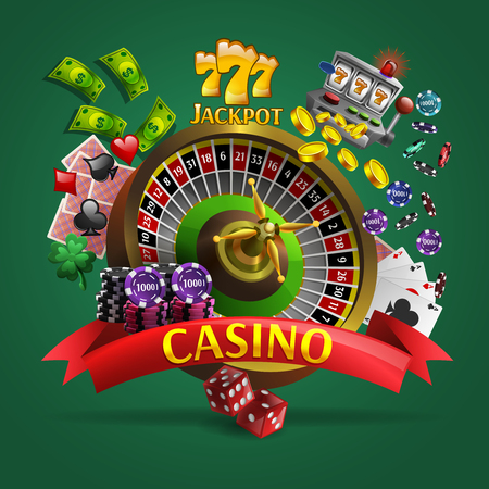 poker chips: Casino poster with roulette in center and cards dice money  coins chips around it cartoon vector illustration