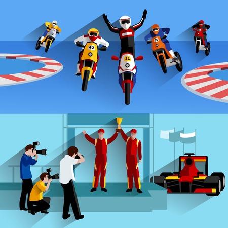 racing track: Racing and rally horizontal banners set with track photographers and victory symbols flat isolated vector illustration
