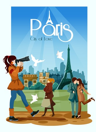 touristic: Paris poster with touristic landmarks people and city of love text vector illustration