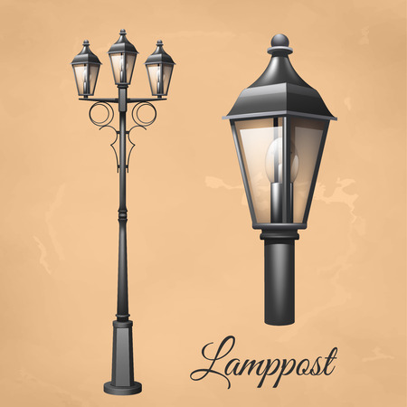 lampada: Retro vintage lamp post set with electricity lantern isolated vector illustration Vettoriali