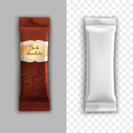 ダーク チョコレートと現実的なデザインをたとえば包装製品分離ベクトル図