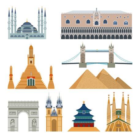 World famous landmarks and monuments flat icons set isolated vector illustration