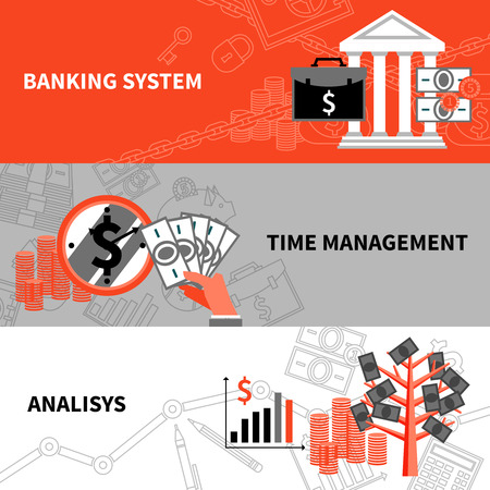 international banking: International banking system financial analysis and time management 3 flat horizontal banners set abstract vector isolated illustration Illustration