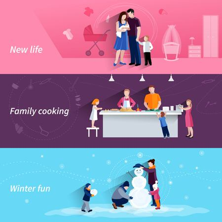 moments: Happy family moments 3 flat banners set with cooking and making snowman together abstract isolated vector illustration Illustration