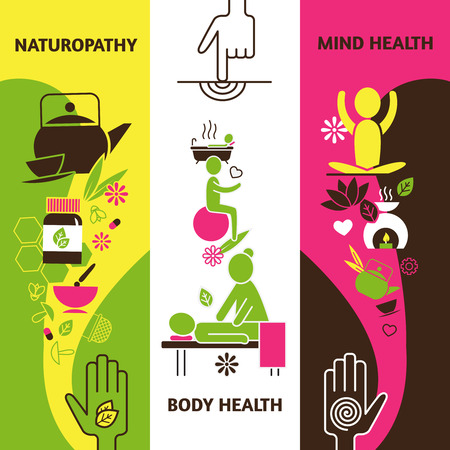Alternative medicine vertical banners set with naturopathy body and mind health symbols flat isolated vector illustration Illustration