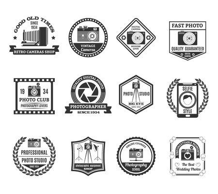 Photography black white emblems set with photo clubs and studios symbols flat isolated vector illustration