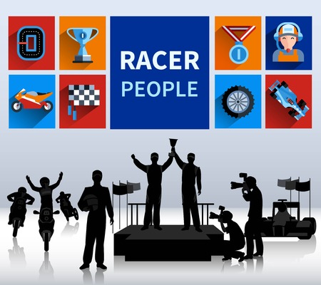 rallies: Racers and rallies concept with tracks flags and finish flat isolated vector illustration Illustration