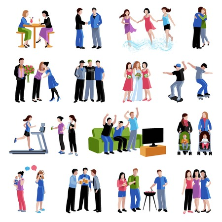 time sharing: Colleagues friends classmates sharing  free time activities and important events flat icons set abstract isolated vector illustration