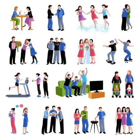 Koledzy przyjaciółmi koledzy dzielą wolnego czasu i ważne wydarzenia płaskie zestaw ikon wektorowych ilustracji abstrakcyjna samodzielnie