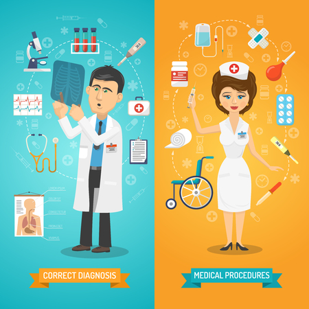 man and banner: Medical healthcare vertical banner set doctor and nurse isolated vector illustration