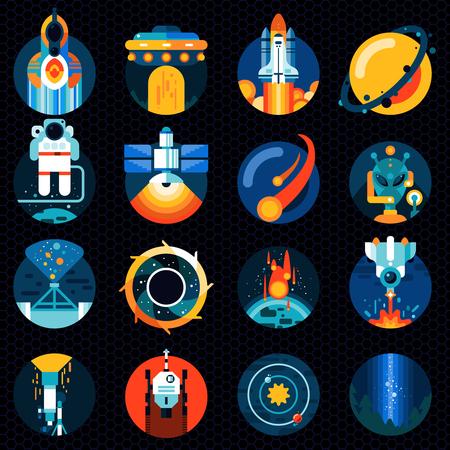 astronaut: Iconos de la exploraci�n espacial conjunto con el sistema de energ�a solar espacial del cohete y el astronauta aislados ilustraci�n vectorial