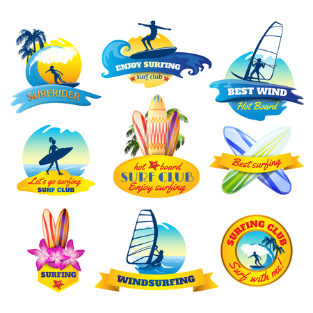 wind surfing: Surfing emblems set with windsurfing boards and surfer silhouettes isolated vector illustration