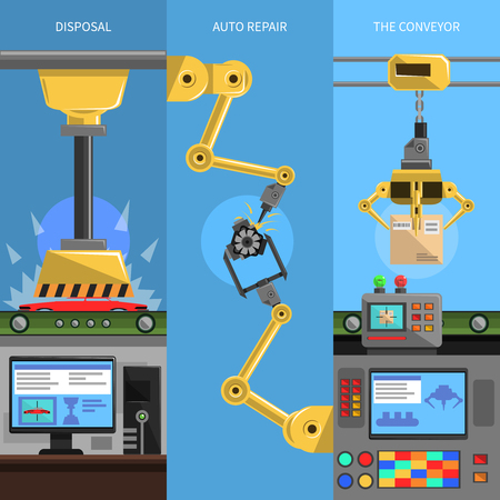 Conveyor vertical banners set with disposal and auto repair symbols flat isolated vector illustration Illustration