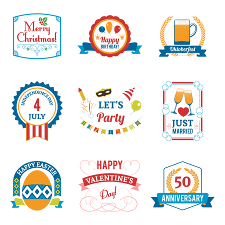 christmas in july: Holiday celebration emblems set with birthday Christmas and Easter symbols flat isolated vector illustration