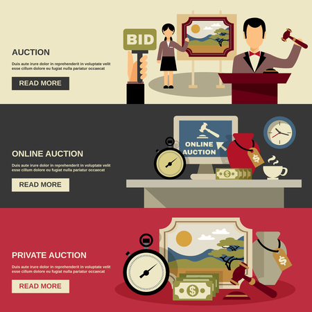 auction: Auction horizontal banners set with online and private auction symbols flat isolated vector illustration