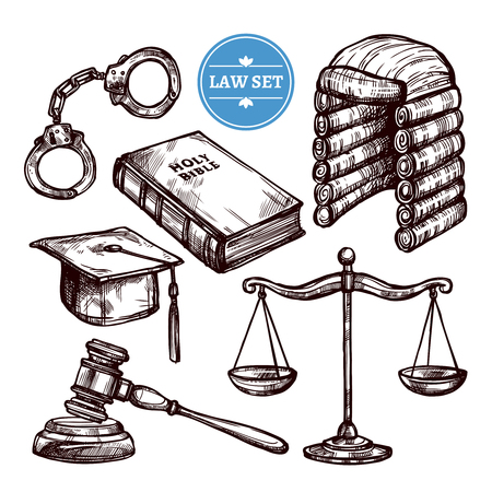 lawsuit: Hand drawn law symbols set with Holy Bible scales handcuffs and elements of judges clothing  isolated vector illustration Illustration