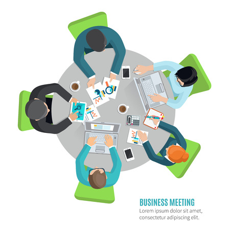 people laptop: Business meeting concept with top view people sitting at the office table flat vector illustration