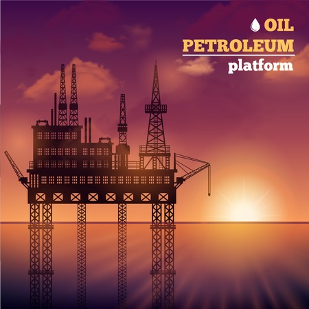 mining ship: Oil petroleum sea platform building with sunset on background vector illustration