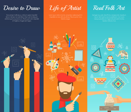 tool: Artist vertical banner set with painter tools flat elements isolated vector illustration
