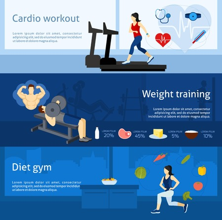 cardio workout: Gym workout horizontal banner set with cardio and weight training elements isolated vector illustration Illustration