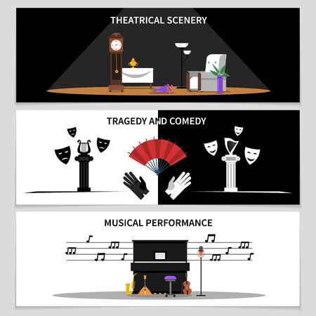 theatrical performance: Theatre horizontal banners set with theatrical scenery and musical performance symbols flat isolated vector illustration Illustration