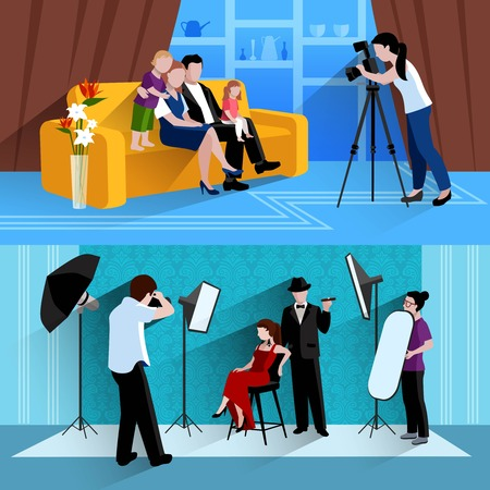 family couch: Photographer horrible banners set with family photos and photo session flat isolated vector illustration