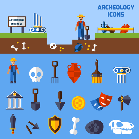 Archeology icons set  with paleontological finds and tools for excavations  vector illustration
