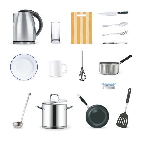 kitchen ware: Design icons set of kitchen utensils in realistic style vector illustration Illustration