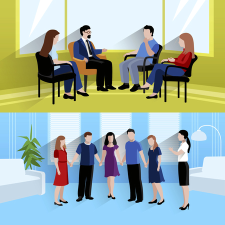 marriage counseling: Family support center marriage counseling and emotions therapy 2 flat horizontal banners composition abstract isolated vector illustration