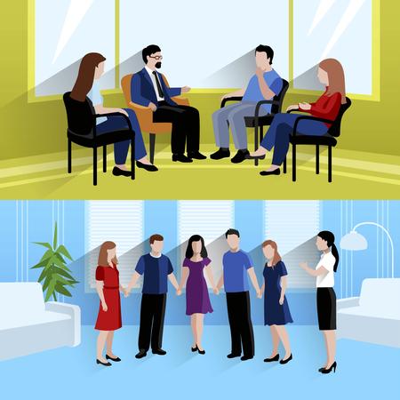 apoyo familiar: Terapia de apoyo familiar centro de terapia de pareja y las emociones 2 piso banners horizontales composición abstracta ilustración vectorial Vectores
