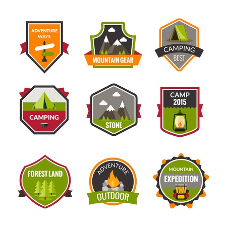 crampons: Tourist mountain expedition and camping label set isolated vector illustration Illustration